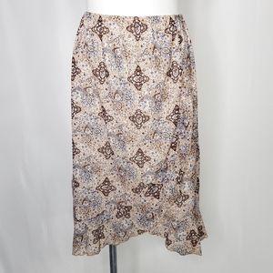 JKLA brown blue paisley print skirt sz M